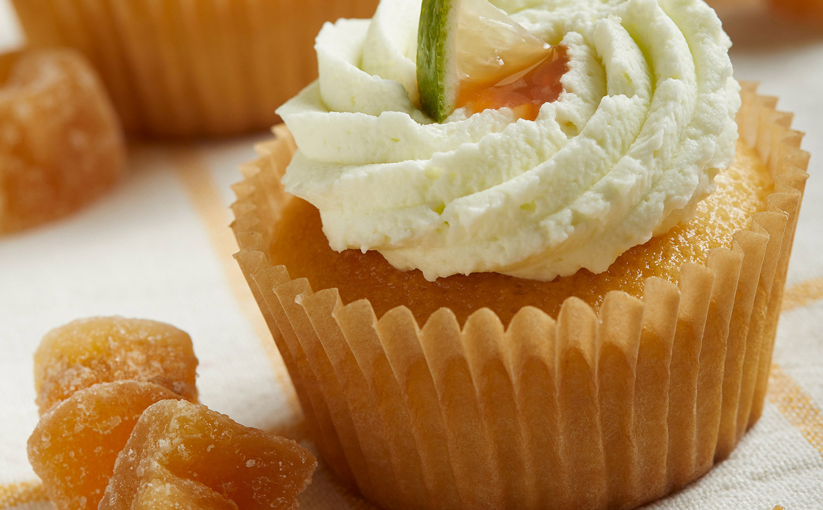 Key Lime Cupcake with Ginger Caramel Drizzle